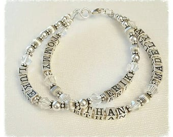 Multi Strand Beaded Name Bracelet, Mother's Grandmother's, Sterling Silver Bead, Personalized Swarovski Birthstones, 1,2,3 or 4 Strands