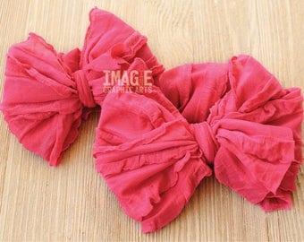 Messy Ruffle Bow Headband - Hot Pink