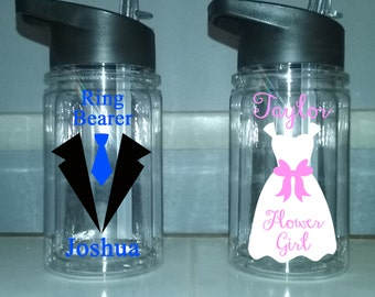 Personalized Flower girl cup, Ring Bearer cup,  flower girl water bottle, personalized ringbearer cup, wedding favor, wedding party bottle