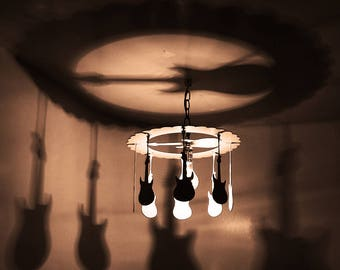GUITAR light, HANGING GUITAR Chandelier, home and living, home decor, gift, lighting, home lighting, Gibson