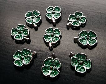 Four Leaf Clover Floating Charm for Floating Lockets-Green Clover-Gold Crystal Center-Gift Idea