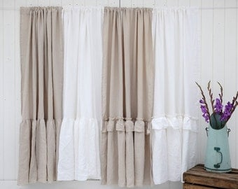 Linen Curtain, Linen Drapes, Window Treatment, Curtain Panel, Custom Curtains, Perfect for Farmhouse Decor!
