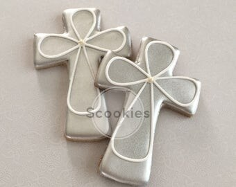 Baptism cookies / 1 Dozen / Silver Cross cookies / Christening cookies / First communion cookies /Holy communion cookies/ Cross cookies