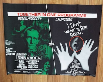 Vintage 1975 The Ghoul And I Don't Want To Be Born Double Bill Film Movie Poster UK Quad Hammer Horror Peter Cushing John Hurt Joan Collins