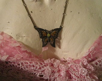 "vintage darktone metal butterfly pendant necklace 20""long extends 3.5""with orange/clear stones"