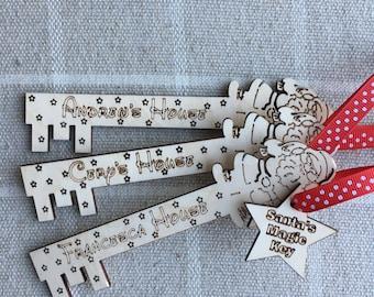 Personalised Christmas Santa Key, Handmade, Laser Cut, Christmas Decoration, Christmas Tree