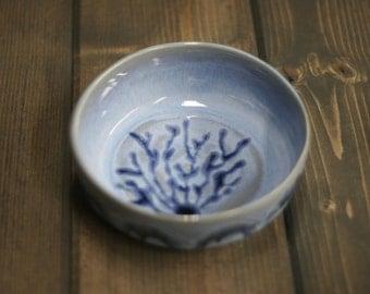 Handmade Prep bowl, Light Blue with Dark Blue Sea weed inside with Dark Blue Highlights running on outside