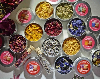 DRIED FLOWER PETAL Craft Apothecary| One Ounce Tins| Sweet Peas| Peony| Rose| Calendula| Sunflower| Lavender | Lilac | Marigold| Delphinium