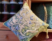 WOODLAND Embroidered  Lavender Pouch, Hare, Squirrel, Pheasant, Dove, Mouse, Oak Tree, Acorn. Gift