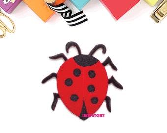 Ladybug - Red Ladybug Sew / Iron On Patch Embroidered Applique Size 7.1cm.x6.8cm.