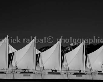Canada Place Vancouver Photo Fine Art Photography Black and White Monochrome Modern Minimalistic Bedroom Kitchen Office Decor White Sails