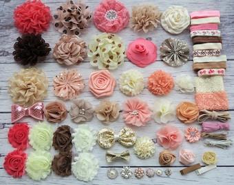 DIY Headband Making Kit,Birthday Party Headband Kit,Hair Bow Kit ,Baby Shower Headband Station Kit,shabby flowers,Diy kit,#H
