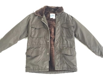 Vintage 70s Sears Parka Sherpa Jacket Coat Small