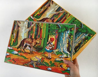Vintage puzzle little Red Riding Hood