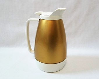Vintage EXCELLENT Condition Thermo-Serv  Restaurant style Hot/Cold Drink Insulated Carafe, Gold and White, Picnic/ Patio/ Barbecue Party