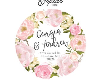 2 Inch Round Personalized Address Labels Stickers -  Pink Floral Wreath - Return Address - Monogram  Coordinating Invitation and Notepad -