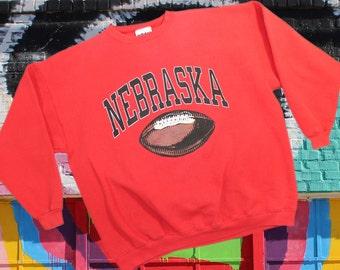 Vintage Nebraska Football Sweatshirt ~ Size XXL ••• University / Corn Huskers / Adidas / Thick / Throwback / 90s / 1990s / Pullover / 2XL