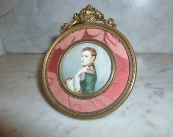 Antique French miniature painting on ivory of Napoleon Bonaparte circa 1880