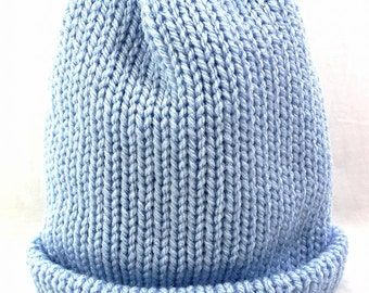 Knitted Beanie Hat Light Blue Made in the UK