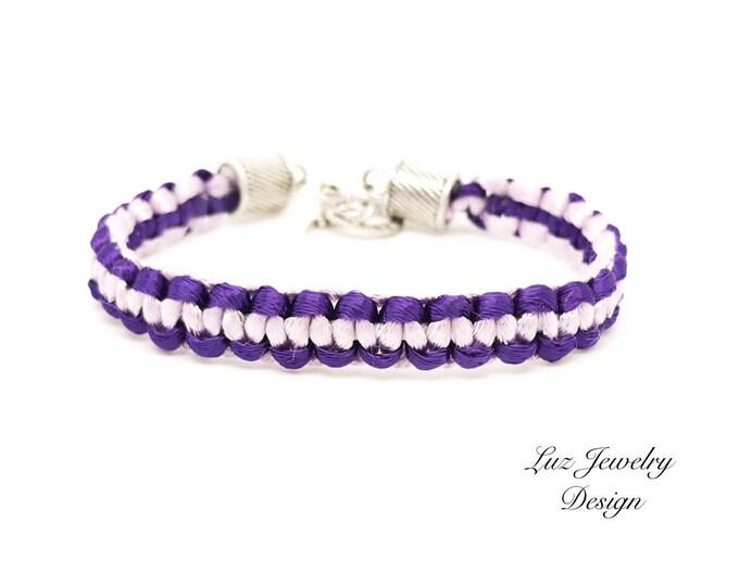 Purple macrame bracelet, purple satin bracelet, purple macrame jewelry, satin cord bracelet, satin jewelry, violet bracelet, macrame