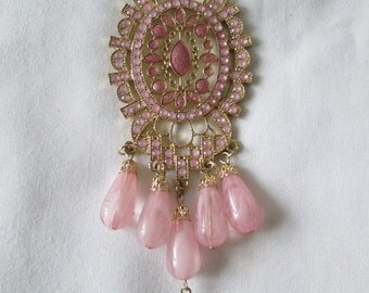 Large Pendant Pink Rhinestone Necklace