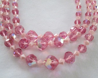 1950s Pink Glass Bead Multi Strand Necklace