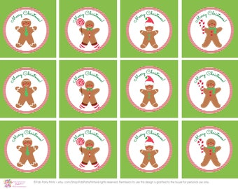 INSTANT DOWNLOAD • Gingerbread Man Toppers • Holiday Cupcake Topper • Kids Christmas Cupcake Toppers • Christmas Party