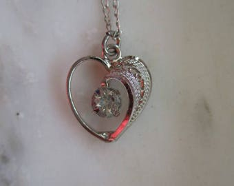 Vintage Silver Tone & White Cubic Zirconia Heart Pendant Necklace