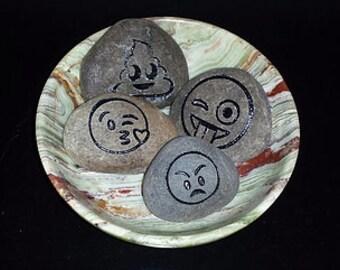Etched Emoji River Rock (Set of 4)