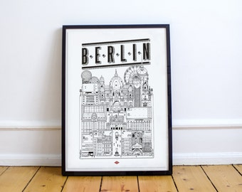 """Berlin - series illustration """"Travel With Me"""". Black and white. 32x45cm"""