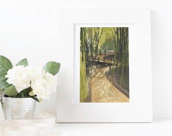 Bamboo Forest Gouache Print 4x6