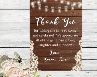 Bridal Shower- Thank You Card - Country Chic Personalized- Mason jar Design  ***Digital File*** (Bridal-MasonTHX)