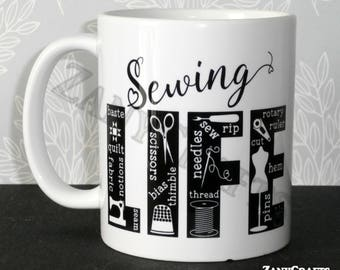 Gift for Sewers Sewing Design 11oz Ceramic Mug for Sewers Knitters Crocheters Crafters Available Left and Right Handed Can be Personalised