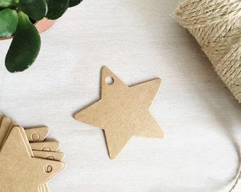 Kraft Star Tags | Kraft Luggage Tags - Brown Kraft Card - Star Gift Tags - Christmas Tags