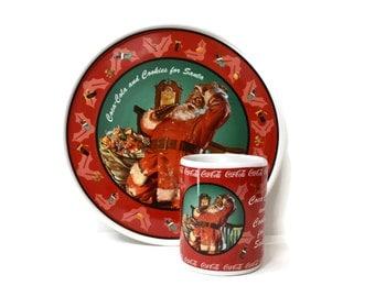 Vintage '90s Coca Cola Christmas Cookie Plate & Tumbler Set Santa Claus Coke by Enesco