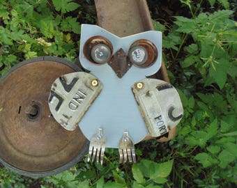 Primitive Found Object Owl Assemblage, Folk Art, Yard Art, Garden Decor,Salvage Art,Rusty Eyes, Fork Feet, Indiana Wings, Upcycle, Recycle