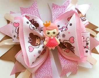 American kanzashi bow for girls, grosgrain ribbons pink