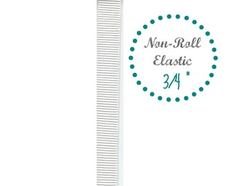 """5 Yards of 3/4"""" White Non-Roll Elastic, Sold in 5 Yard increments 9303"""
