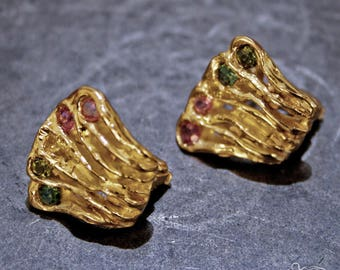 Yellow gold earrings with tourmalines