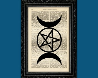 Wicca symbol Art Print Wicca Poster Magick Moon Dorm Room Print Gift esoteric magic poster Print Dictionary old bokk pagePrint Art Prin