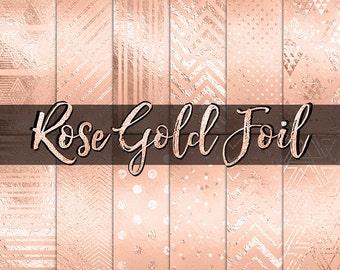 Rose Gold Foil Digital Paper: rose gold foil, gold foil, geometric, gold confetti, planner digital paper, gold backgrounds, scrapabook paper