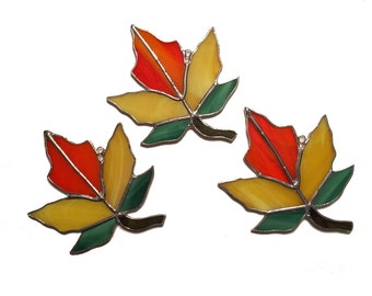 Handmade Stained Glass Autumn Maple Leaf Suncatcher