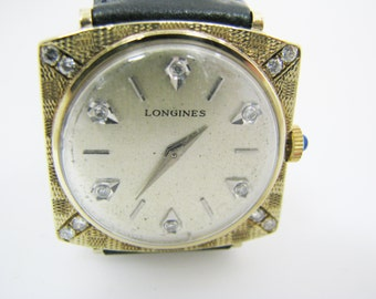 a057 Vintage Original Classic 14k Gold Longines Diamond Watch from the 1960's