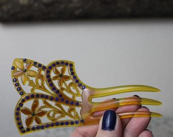 Vintage 30's Antique ART DECO CELLULOID Hair Comb Art Deco Carved Flowers Purple Rhinestones Tortoise