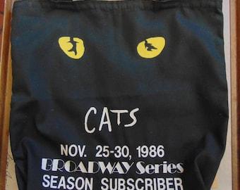 1986 Broadway Season Subscriber CATS musical souvenir tote bag
