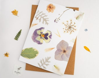 Floral card, pressed flower greeting card, printed floral design