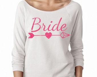 BRIDE ARROW Bachelorette Wideneck Fleece