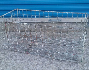 Large vintage industrial metal wire basket