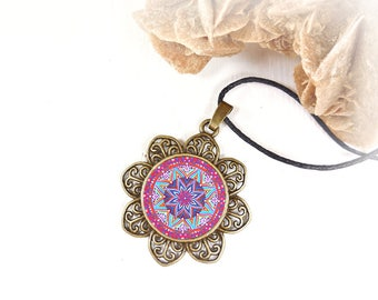 Necklace with pink mandala printed, new balance, inner calm, talisman pendant, gift idea for girlfriend and friend under 20 dollars.