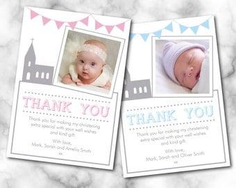 Christening thank you card, Baptism thank you card, church, Digital File, PDF, DIY,  Boy Thank you, Girl Thank you, 4 x 6, 5 x 7,